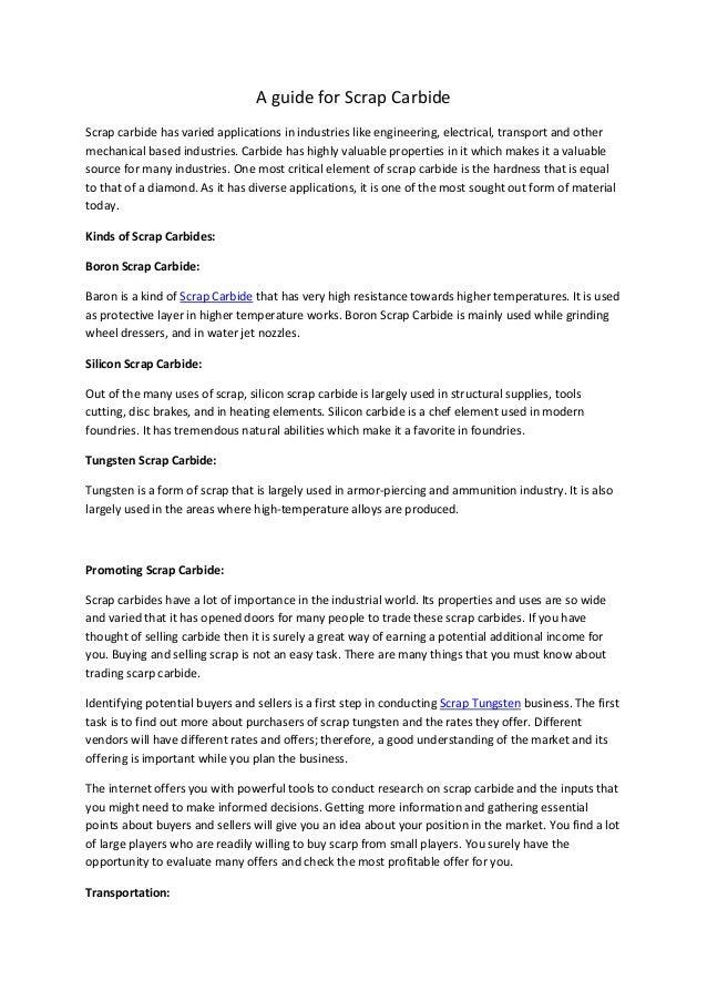 A guide for Scrap Carbide