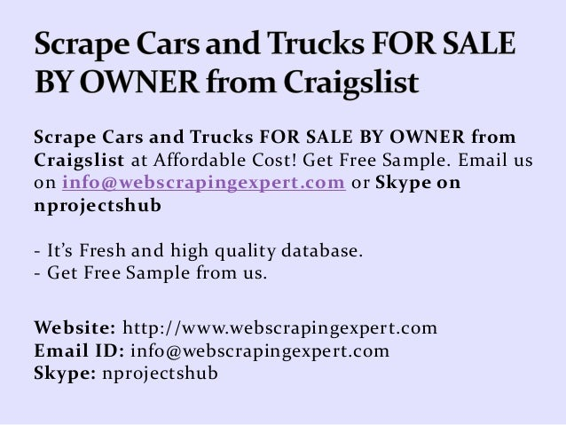 Scrape Cars and Trucks FOR SALE BY OWNER from Craigslist