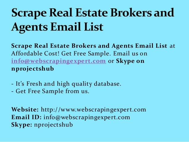 scrape real estate brokers and agents email list
