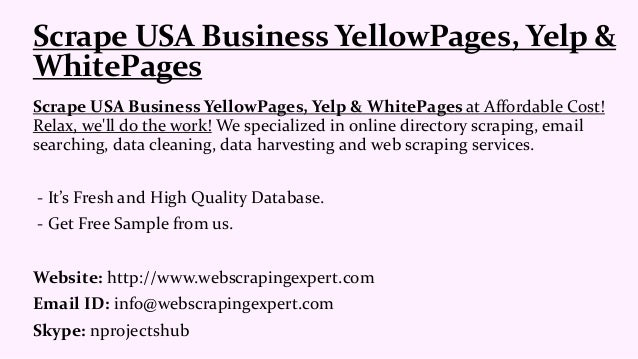 Scrape usa business yellow pages, yelp &