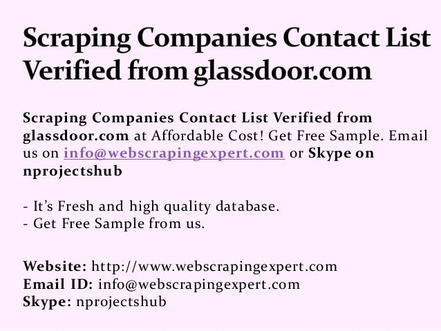 Scraping Companies Contact List verified from glassdoor com
