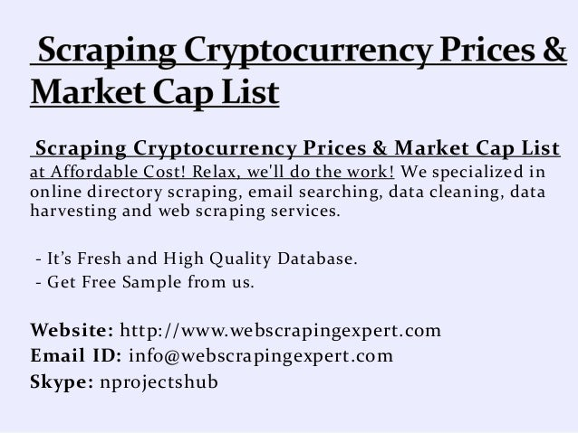 Scraping Cryptocurrency Prices & Market Cap List