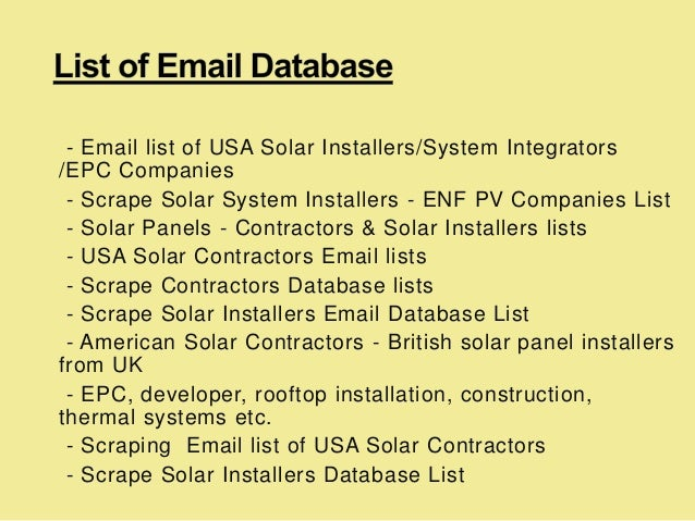 Scraping email list of usa solar contractors and solar