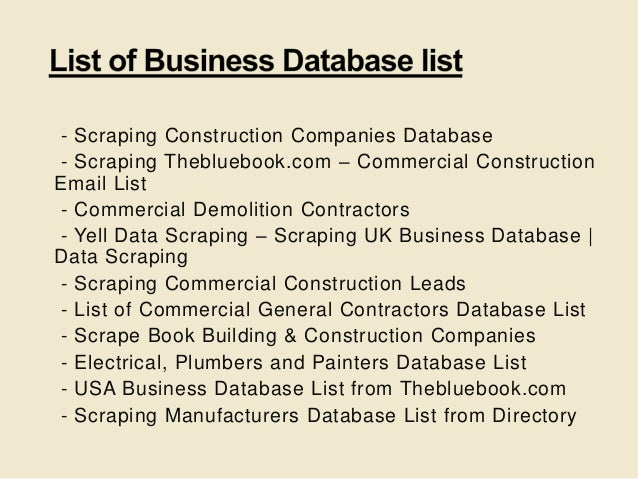 Scraping thebluebook com – commercial construction email list