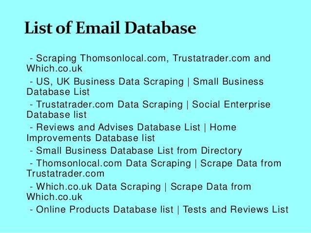 Scraping thomsonlocal com, trustatrader com and which co uk