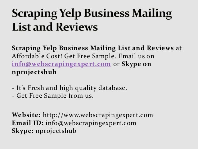 Scraping yelp business mailing list and reviews