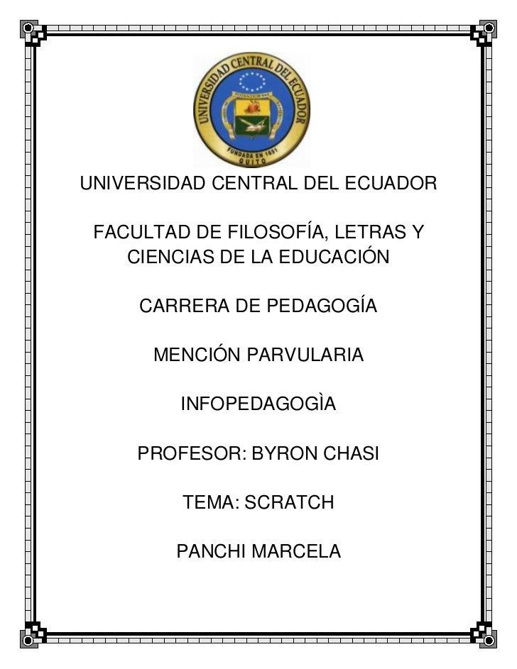UNIVERSIDAD CENTRAL DEL ECUADOR FACULTAD DE FILOSOFÍA, LETRAS Y    CIENCIAS DE LA EDUCACIÓN     CARRERA DE PEDAGOGÍA      ...