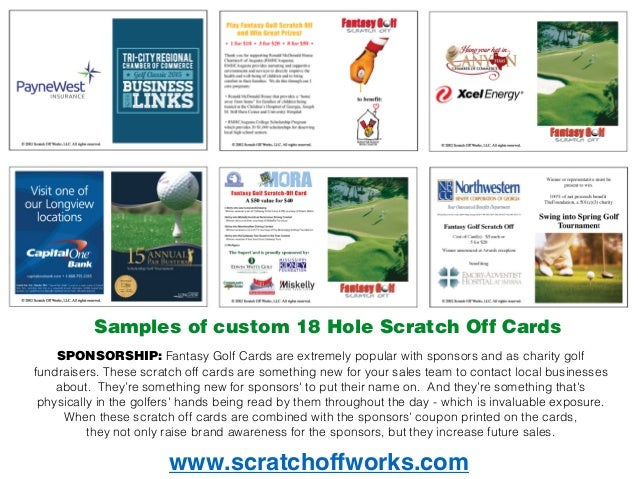 Fantasy Golf scratch off cards are 1 golf fundraiser on the market