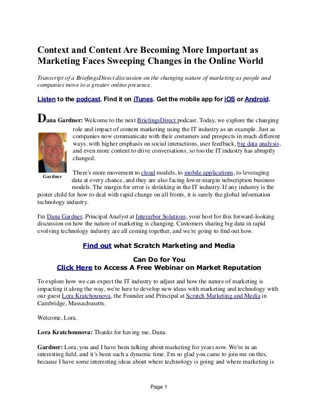 Context and Content Are Becoming More Important as Marketing Faces Sweeping Changes in the Online World Transcript of a Br...