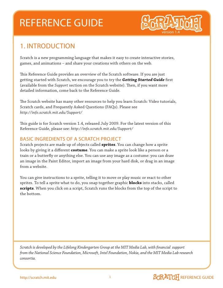 scratch referenceguide14 rh slideshare net scratch reference guide 2.0 Reference Guide Template