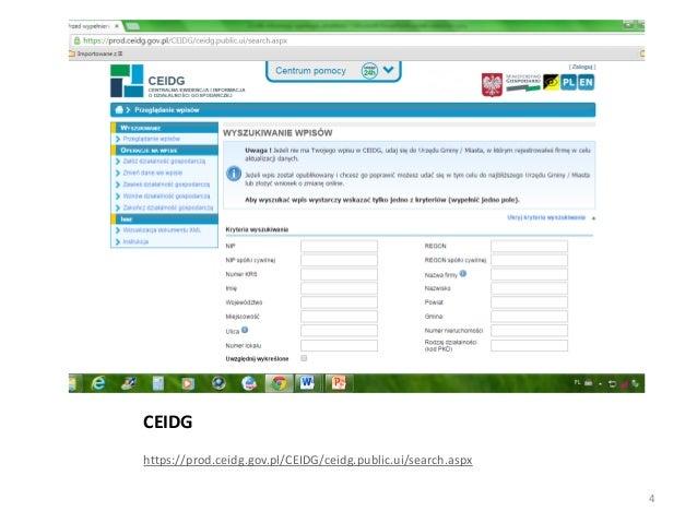 CEIDG https://prod.ceidg.gov.pl/CEIDG/ceidg.public.ui/search.aspx 4