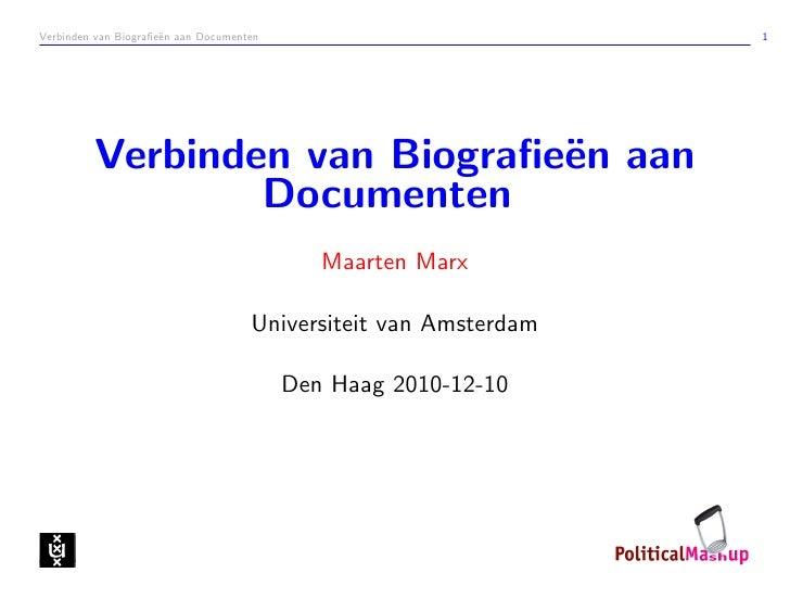 Verbinden van Biografie¨n aan Documenten                      e                                           1         Verbind...