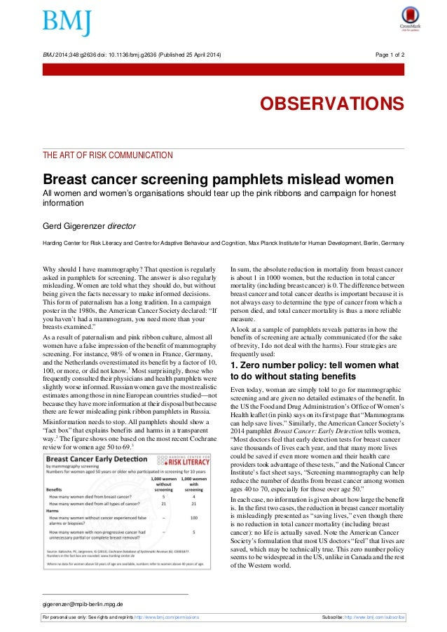 THE ART OF RISK COMMUNICATION Breast cancer screening pamphlets mislead women All women and women's organisations should t...