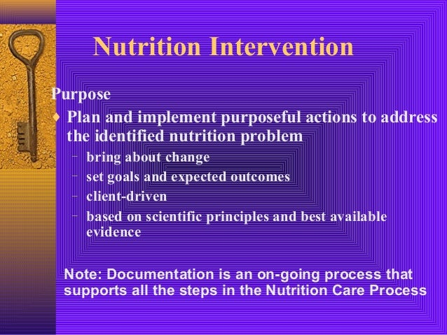 the implementation of nutrition care process Implementation of the nursing process as identified in this nursing standard should allow for the delivery of quality nursing care within a systematic, goal-directed framework and a reasonable assurance that the.