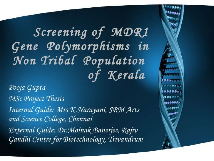 Screening of  MDR1 Gene  Polymorphisms  in  Non Tribal  Population  of  Kerala  Pooja Gupta MSc Project Thesis Internal Gu...