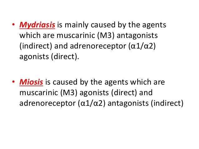 Screening of miotic and mydriatic agentsDilated Pupils Drugs Miosis