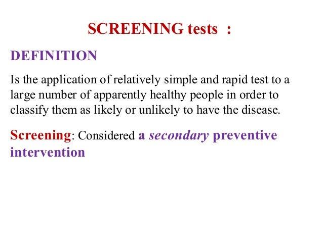 Screening  tests Slide 2