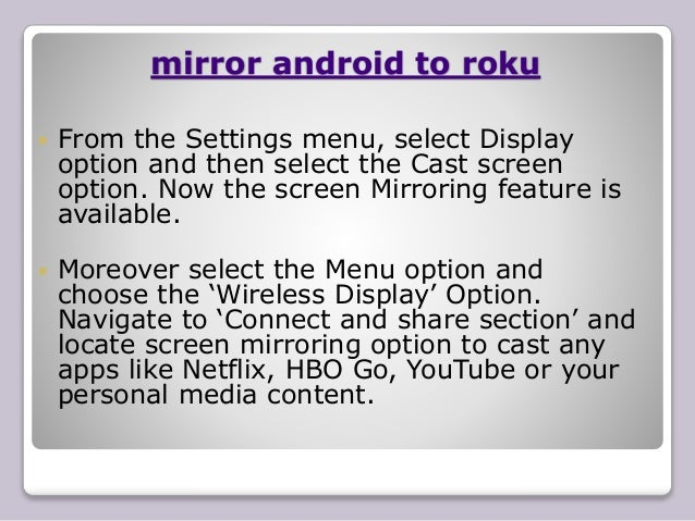 Screen mirroring on roku