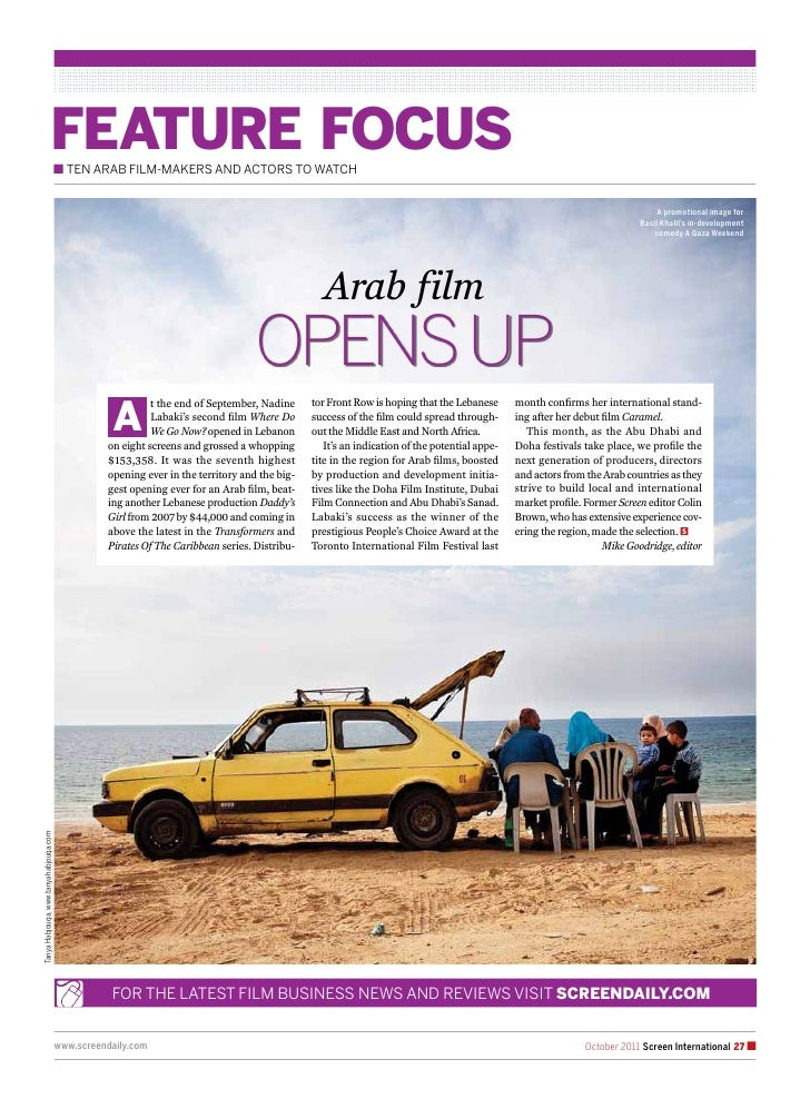 feature focuS                                        n ten arab Film-makers and actors to watch                           ...