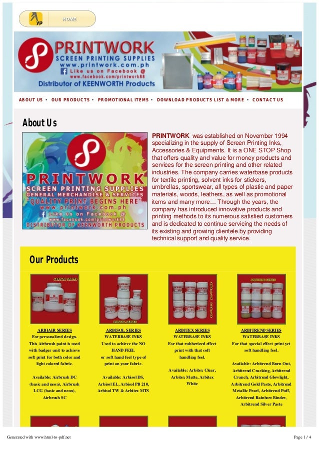 PRINTWORK was established on November 1994 specializing in the supply of Screen Printing Inks, Accessories & Equipments. I...