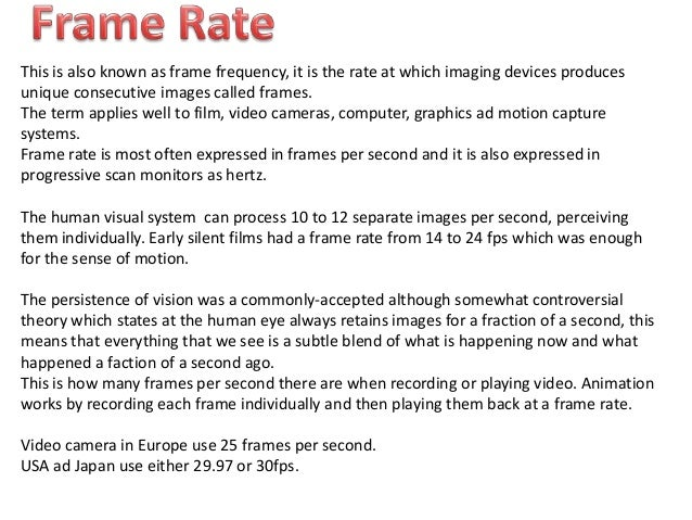Screen Ratios Frame Rate Video Forats Compression
