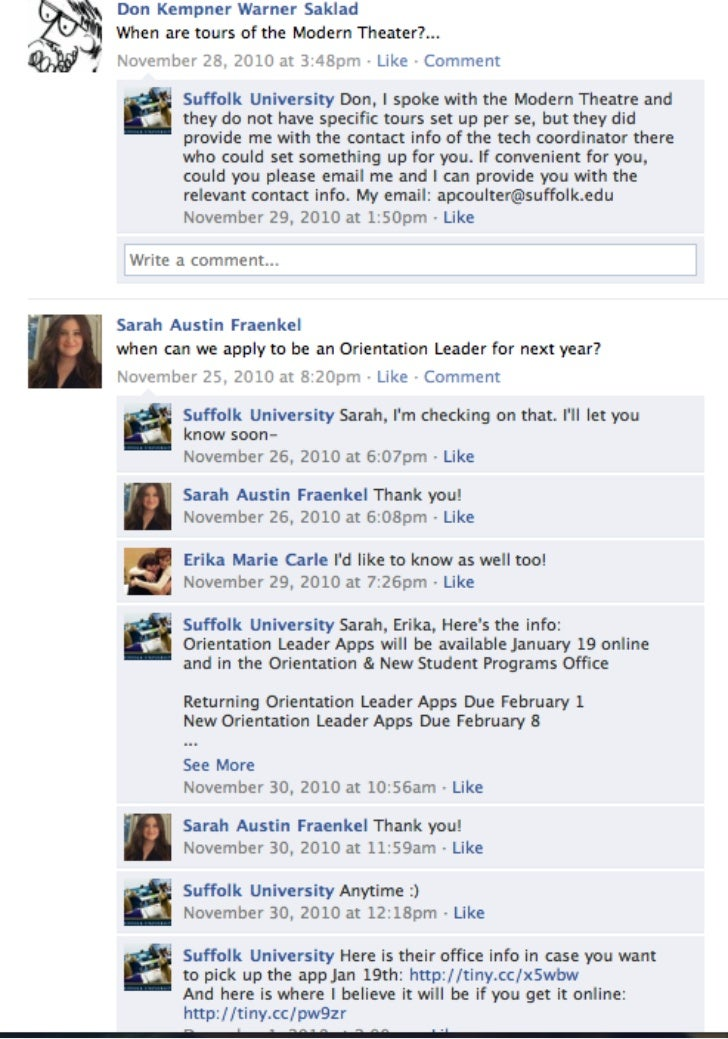 Suffolk University's Social Voice: Facebook