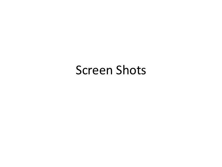 Screen Shots <br />