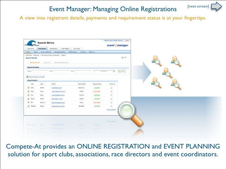[next screen]                   Event Manager: Managing Online Registrations      A view into registrant details, payments...