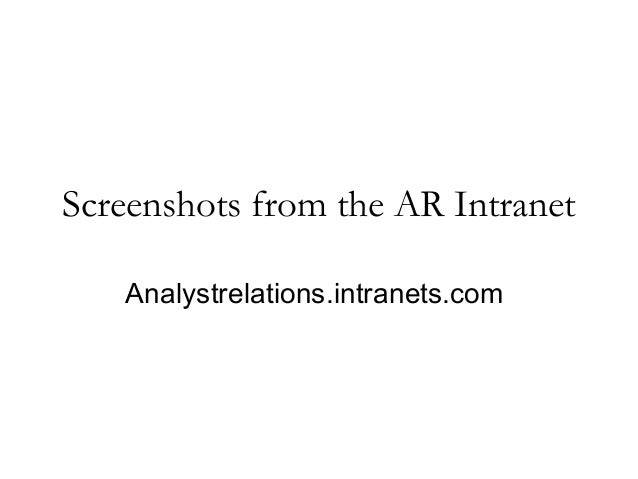 Screenshots from the AR Intranet Analystrelations.intranets.com