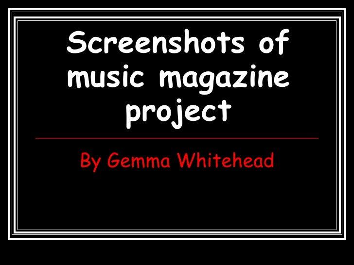 Screenshots of music magazine project By Gemma Whitehead