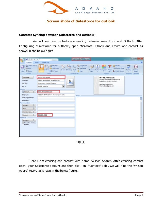 Screen shots of Salesforce for outlook Page 1 Screen shots of Salesforce for outlook Contacts Syncing between Salesforce a...