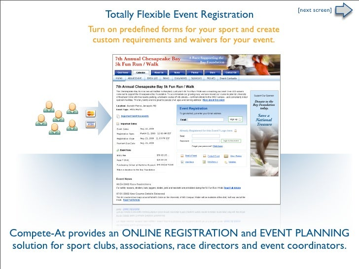 [next screen]                       Totally Flexible Event Registration                   Turn on predefined forms for your...