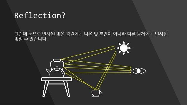 Reflection? 그런데 눈으로 반사된 빛은 광원에서 나온 빛 뿐만이 아니라 다른 물체에서 반사된 빛일 수 있습니다.