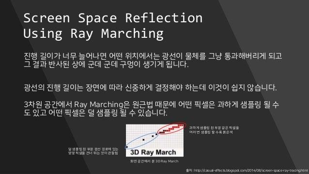 Screen Space Reflection Using Ray Marching 진행 길이가 너무 늘어나면 어떤 위치에서는 광선이 물체를 그냥 통과해버리게 되고 그 결과 반사된 상에 군데 군데 구멍이 생기게 됩니다. 광선의...
