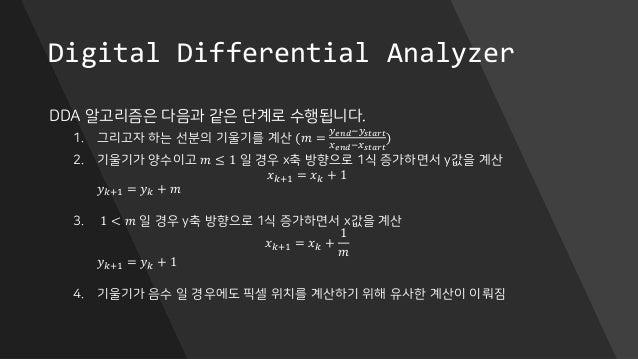 Digital Differential Analyzer DDA 알고리즘은 다음과 같은 단계로 수행됩니다. 1. 그리고자 하는 선분의 기울기를 계산 (𝑚 = 𝑦 𝑒𝑛𝑑−𝑦 𝑠𝑡𝑎𝑟𝑡 𝑥 𝑒𝑛𝑑−𝑥 𝑠𝑡𝑎𝑟𝑡 ) 2. 기울기...