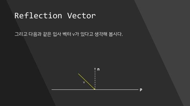 Reflection Vector 그리고 다음과 같은 입사 벡터 v가 있다고 생각해 봅시다. P n v