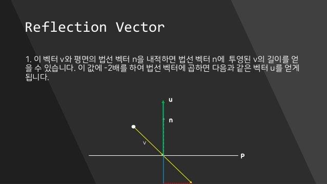 Reflection Vector 1. 이 벡터 v와 평면의 법선 벡터 n을 내적하면 법선 벡터 n에 투영된 v의 길이를 얻 을 수 있습니다. 이 값에 -2배를 하여 법선 벡터에 곱하면 다음과 같은 벡터 u를 얻게 됩니다...