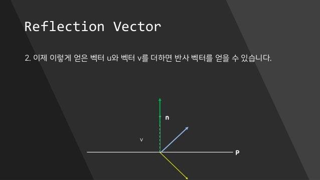 Reflection Vector 2. 이제 이렇게 얻은 벡터 u와 벡터 v를 더하면 반사 벡터를 얻을 수 있습니다. P n v