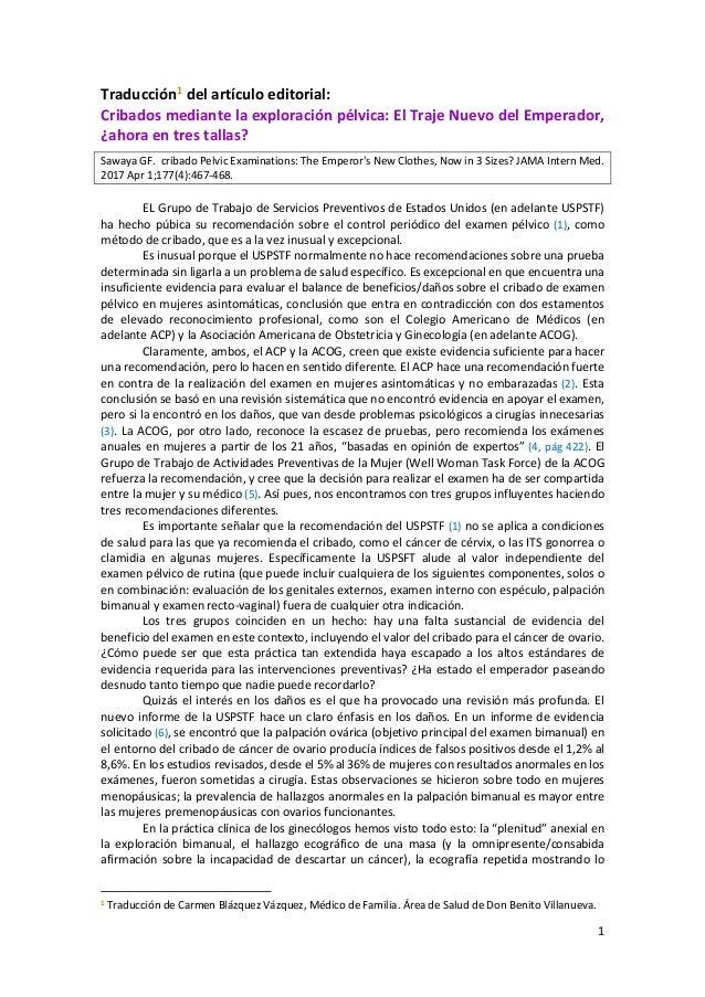 1 Traducción1 del artículo editorial: Cribados mediante la exploración pélvica: El Traje Nuevo del Emperador, ¿ahora en tr...