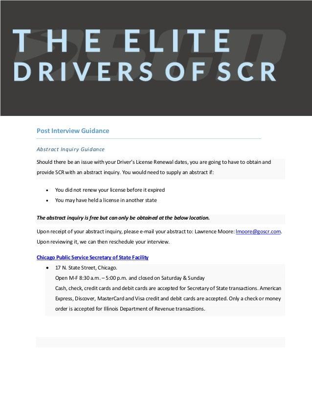 Scr elite driver candidate help guide.