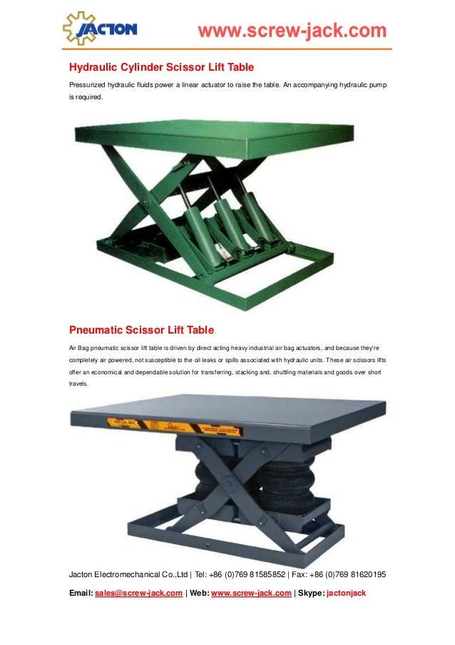 Pneumatic Lift Table Design selecting pantograph drive placement Jactonjack 4 Hydraulic Cylinder Scissor Lift Table