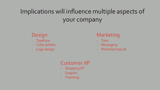 Implications will influence multiple aspects of your company Design - Typeface - Color palette - Logo design Marketing - T...