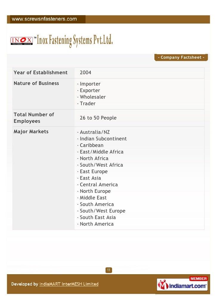 - Company Factsheet -Year of Establishment   2004Nature of Business      Importer                        Exporter         ...