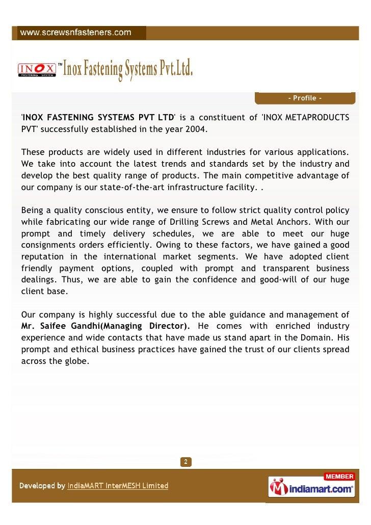 Inox Fastening Systems Pvt Ltd, Mumbai, Self drilling screws Slide 2
