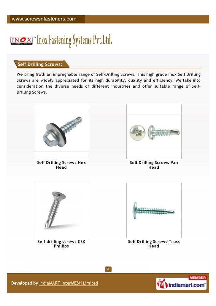 Inox Fastening Systems Pvt Ltd, Mumbai, Self drilling screws Slide 3