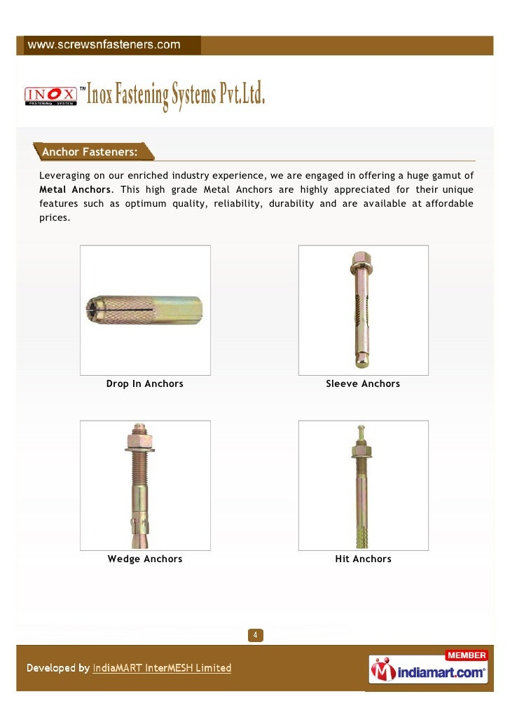 Anchor Fasteners:Leveraging on our enriched industry experience, we are engaged in offering a huge gamut ofMetal Anchors. ...