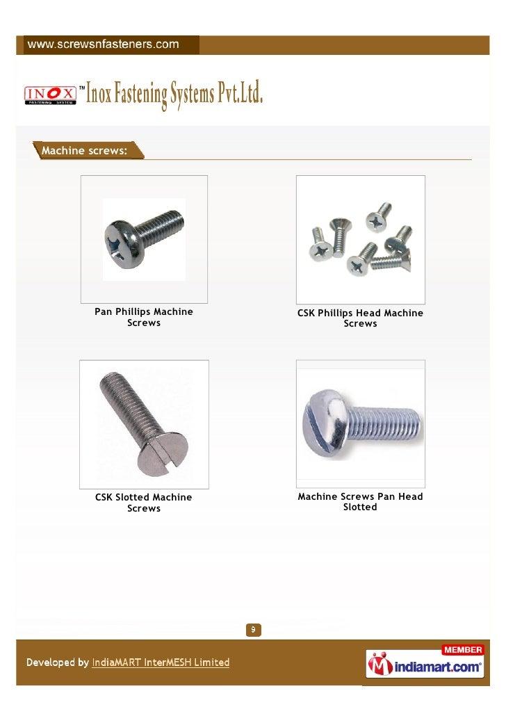 Machine screws:         Pan Phillips Machine   CSK Phillips Head Machine               Screws                     Screws  ...