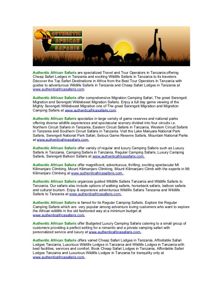 Authentic African Safaris are specialized Travel and Tour Operators in Tanzania offeringCheap Safari Lodges in Tanzania an...