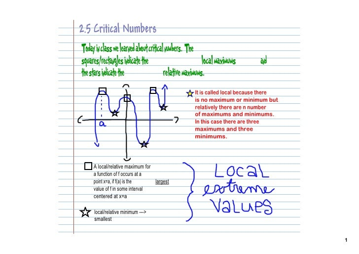2.5 Critical Numbers Today in class we learned about critical numbers. The squares/rectangles indicate the                ...