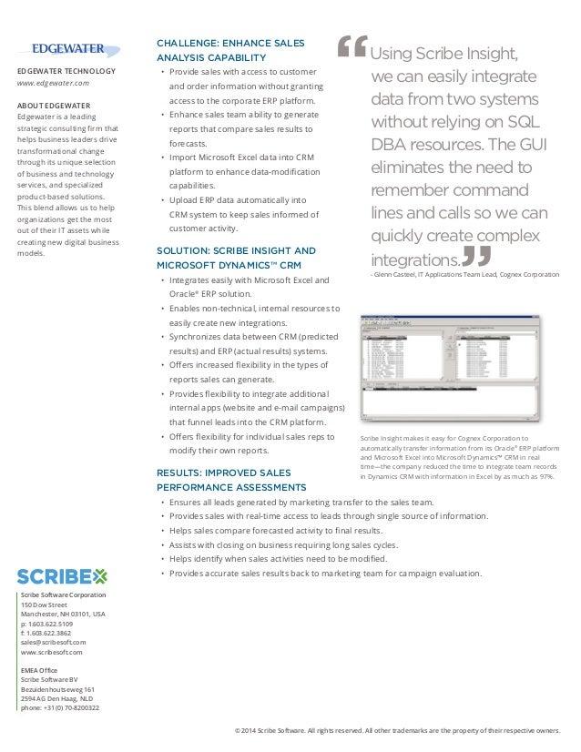 Data Integration Case Study: Scribe Software - Cognex